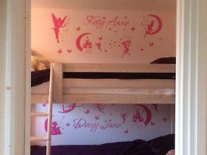 Personalised Girl's Fairy Vinyl bedroom wall art sticker, decal, mural
