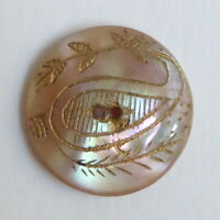Bouton ancien - Nacre - Fleur de cachemire - 16 mm - Carved Shell Paisley Button