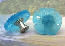 Turquoise Glass Sand Dollar Cabinet Knobs, Beach Glass Cabinet Knobs