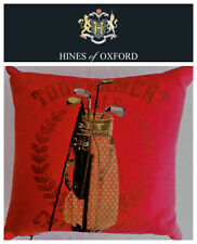 🆕HINES Of Oxford Golf Clubs Red Throw Pillow Fine Tapestry Feather ENGLAND