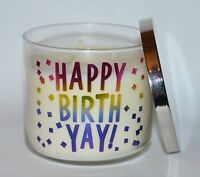 BATH BODY WORKS HAPPY BIRTH YAY CITRUS MANGO BIRTHDAY CANDLE 3 WICK 14.5OZ LARGE