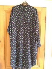 Monki, long button up shirt dress, XL, black, blue and green in colour,  long sl