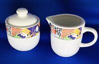 Vitromaster Metropolitan Pattern Sugar Bowl & Creamer Stoneware 1991 VTG