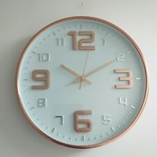 Copper & white Embossed wall Clock 30 cm Round kitchen Contemporary wall clock