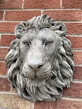 STONE GARDEN LARGE NATURAL DETAILED LION HEAD WALL HANGING PLAQUE ORNAMENT