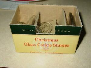 Williams-Sonoma - (4) GLASS CHRISTMAS COOKIE Stamps -Bells, Star, Snowflake, Etc