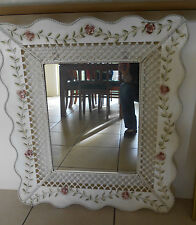 FRENCH PROVINCIAL LARGE WALL MIRROR METAL LATTICE SURROUNDED BY ROSES AND LEAVES