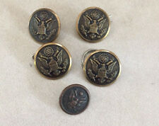 Lot 5 Vintage US Army Military Eagle Antique Brass Metal Shank Buttons 1.5-2cm