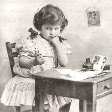3 SERVIETTEN NAPKINS A GIRL WRITES 33X33 SCHREIBENDES MÄDCHEN AM TISCH VINTAGE