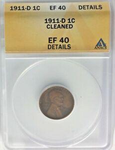 *1911-D ANACS EF 40 CLEANED 1c USA*