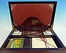 Vintage Mahogany Writing Box With Fountain Pens + Content + Accessories