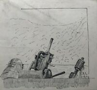 Drawing Feather First World War Antiaircraft Gun WWI 1917 at The Front Part 3