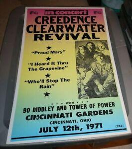 """JULY 12 1979 CREDENCE CLEARWATER REVIVAL CONCERT 14x22"""" REPRO CARDBOARD POSTER"""