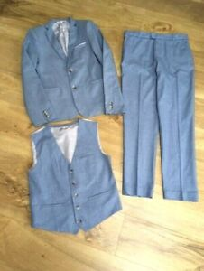 Boys M&S Blue 3 piece Suit Set age 13-14 years Wedding Page Boy Prom Party