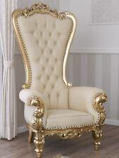 Poltrona Regina stile Barocco Francese trono foglia oro ecopelle champagne botto