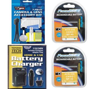 2X Batteries + Charger for Kodak PIXPRO AZ528, AZ527, AZ527BK,