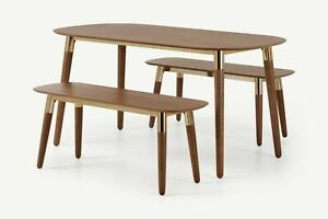 Made.com Edelweiss Dining Table and Bench Set in Walnut & Brass