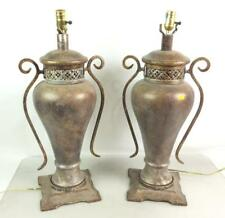 (2) Stone Look Vessel Wrought Iron Handle Lamps Lot 2084