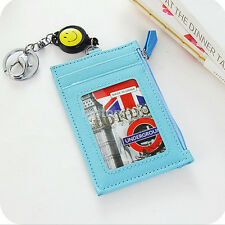 Hot Leather ID Badge Card Holder Retractable Reel Lanyard Purse Key Holder UK