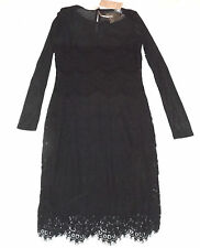 BNWT TRAFFIC PEOPLE JOELEEN S BLACK COCKTAIL PARTY LACE SHIFT DRESS MESH SLEEVES