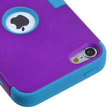 iPod Touch 5 & 6 Gen -HARD SOFT RUBBER IMPACT ARMOR CASE TEAL BLUE PURPLE HYBRID
