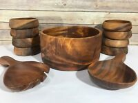 Vintage Wood Salad Bowl Set MCM Teak Danish Modern Wooden Mid Century