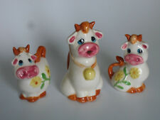 VINTAGE COWS SALT AND PEPPER SHAKERS WITH A SMALL COW JUG CERAMIC AS NEW UNUSED