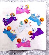 Vtg Sandylion Pearl Opal PRISMATIC & IRIDESCENT ANGEL STICKERS~1 mod=7~Christmas