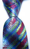 New Classic Paisley Blue Red Black Green JACQUARD WOVEN Silk Men's Tie Necktie