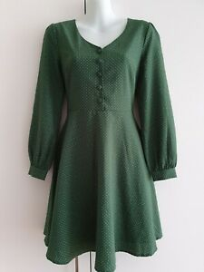 Princess Highway Green Polka Dot Dress 60s Style Sz 6