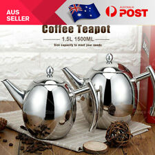 1.5L STAINLESS STEEL TEAPOT WITH INFUSER Tea Pot Coffee Brew Leaf 1500ML