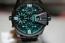NWT MENS DIESEL (DZ7373) UBER CHIEF BLACK IRIDESCENT DIAL DUAL TIME WATCH