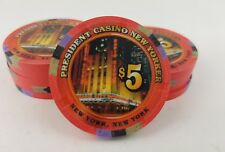 Paulson Poker set of 10 $ 5 President Casino Chips New Yorker mint condition