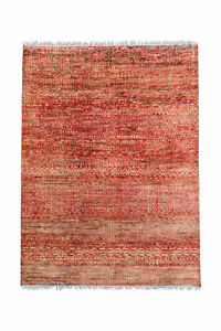 5.11 X 8.2 RED RED HANDKNOTTED RUG IN WOOL,SARI SILK  INDIAN ORIENTAL CARPET