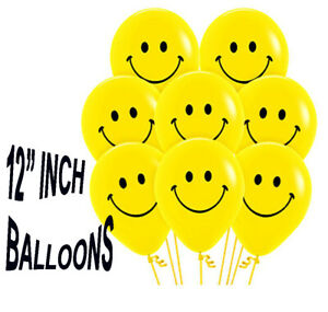 """100 x SMILEY YELLOW 12""""INCH LARGE FACE BALLOONS LATEX RUBBER HELIUM PARTY BALOON"""
