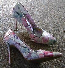Women's ELLE Pink Floral Flowers High Heel Casual Dress Shoes 8.5M
