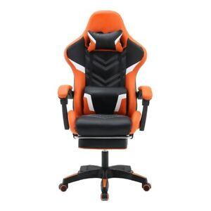 PC Gaming Chair Swivel HighBack Ergonomic Leather Racing Adjust Office Orange