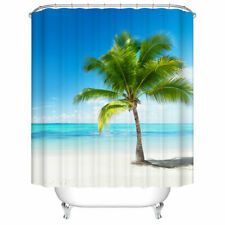 72inch Shower Curtain Decor Set Beach Palm Tree Decor Bath Curtains 12Pcs Hooks