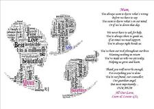 Personalised Daughter Mum Son Poem Mothers Day Birthday Christmas Gift Word Art