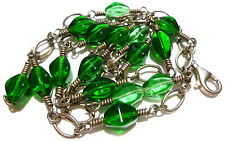 VINTAGE GREEN APPLE CRYSTAL BEAD STERLING SILVER COIL CABLE CHAIN NECKLACE 24""