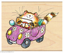 New Penny Black FLOWER-POWERED Wood Rubber Stamp Cat Car Convertible Spring New!
