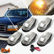 5Pcs Cab Roof Running Light W/Switch Chrome Yellow LED For 80-96 F-Series Pickup