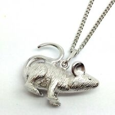 Mouse Pendant Necklace solid Sterling Silver, New, UK Seller. Adjustable Chain.