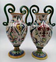 Coppia Vasi ANTICHI 900 Ceramica Porcellana Vecchi Mano Decorazione Antichità
