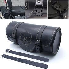 Motorcycle PU Leather Tool Bag Luggage Saddlebag Roll Barrel Storage For Harley