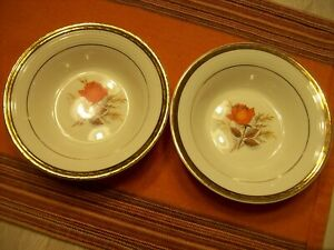 SET OF 2 - VINTAGE TRIUMPH AMERICAN LIMOGES- 22K GOLD VERMILLION ROSE DISHES