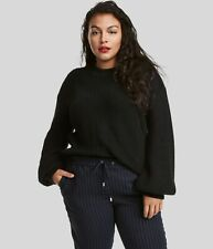 Ex H&M Womens Ladies Black Oversized Ribbed Chunky Balloon Sleeve Knit Jumper