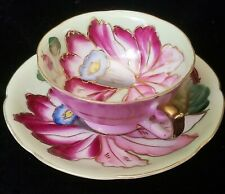 Royal Sealy Gold Trim Large Flower Tea Cup & Saucer
