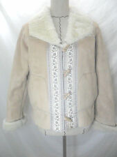 Coldwater Creek women vegan sherpa coat beige long sleeve faux fur trim size XSP