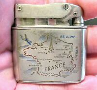 VINTAGE FRANCE SOUVENIR LIGHTER WITH MAP OF FRANCE SILVER TONED